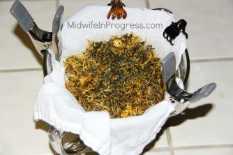 Straining herbs